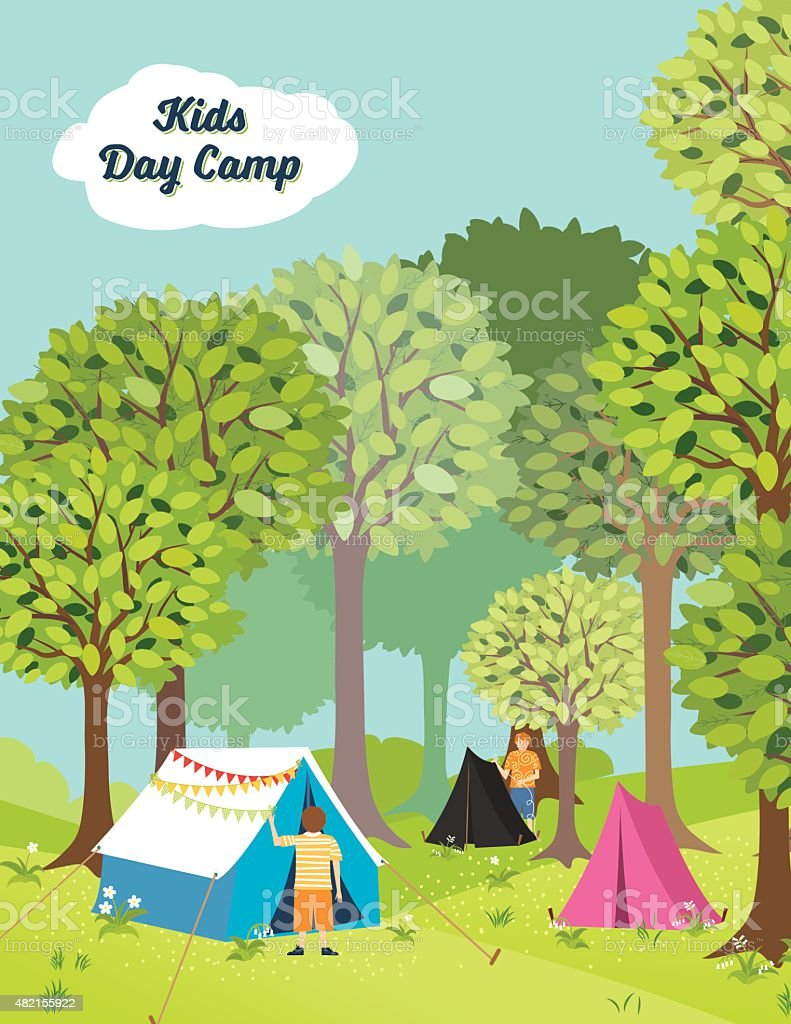 Kids Day Camp In The Woods vector art illustration
