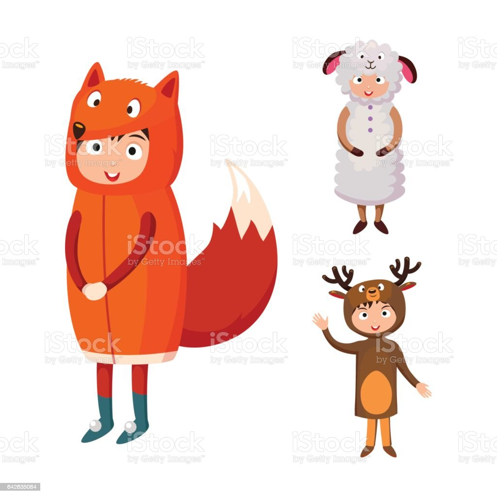 Kids different costumes isolated vector illustration vector art illustration