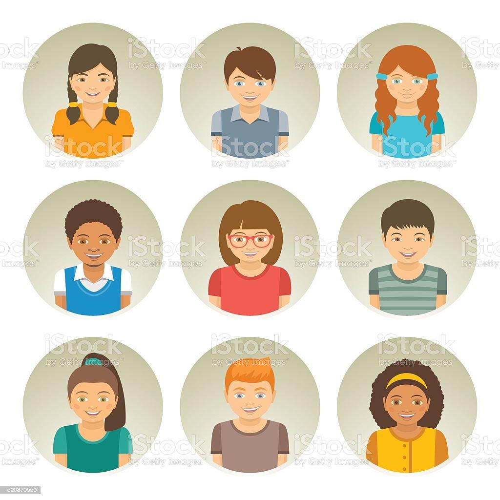 Kids different races round flat vector avatars vector art illustration