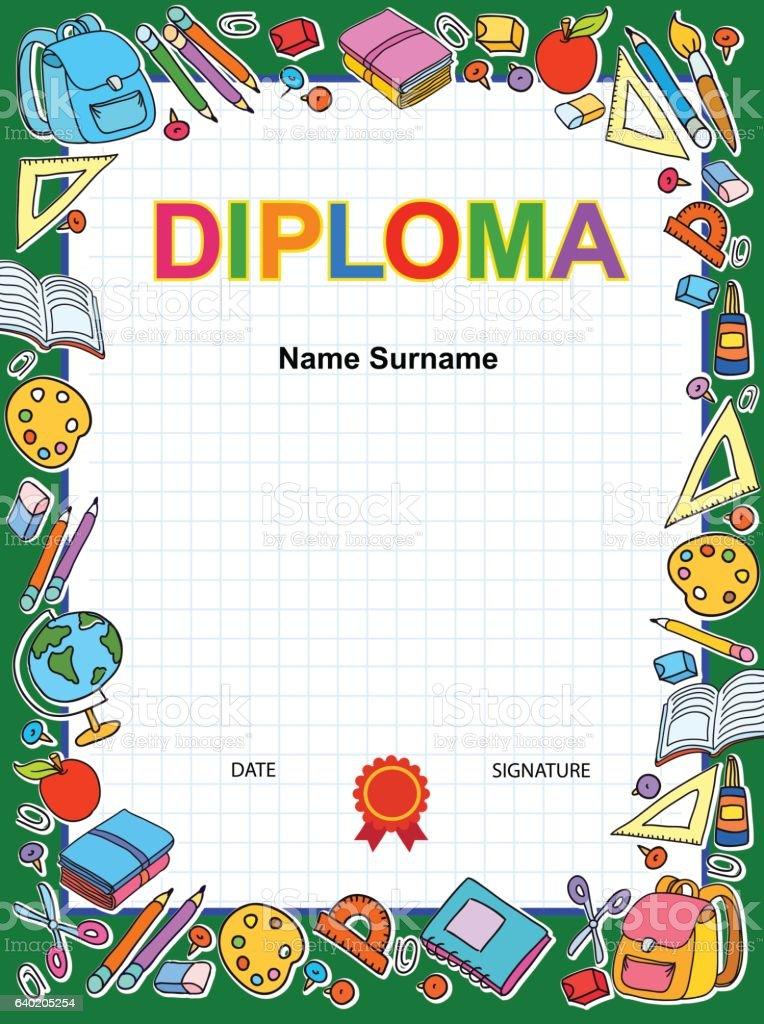Kids Diploma Certificate Background Design Template stock vector art 640205254  iStock
