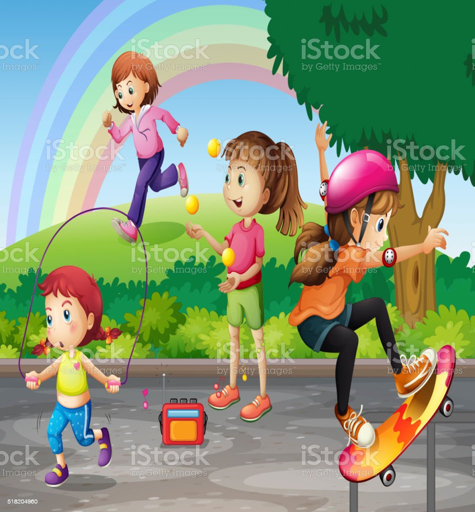 Kids doing activities in the park vector art illustration
