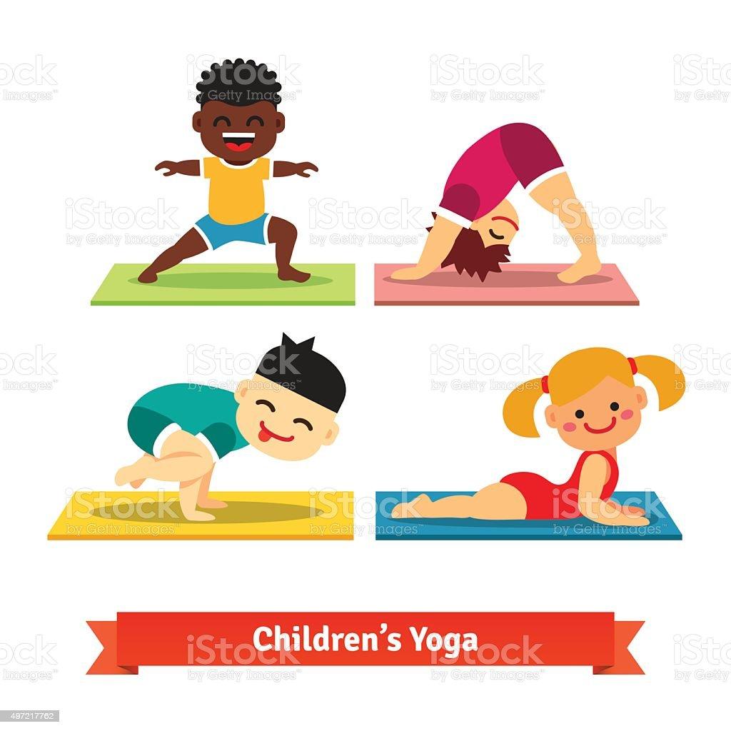 Kids doing yoga poses on colorful mats vector art illustration