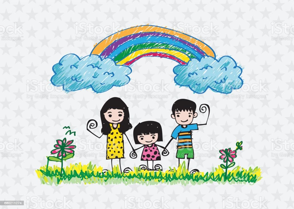 kids drawing happy family picture vector art illustration