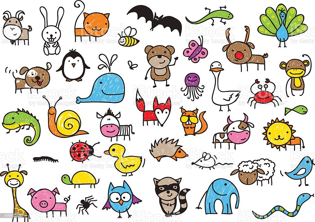 Kid's drawings of animals vector art illustration