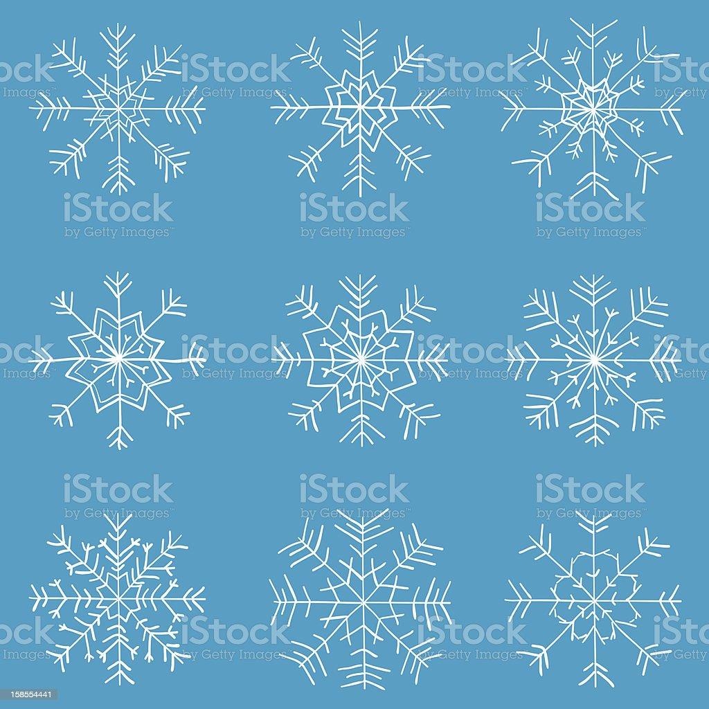 kids drawn snowflakes vector set vector art illustration