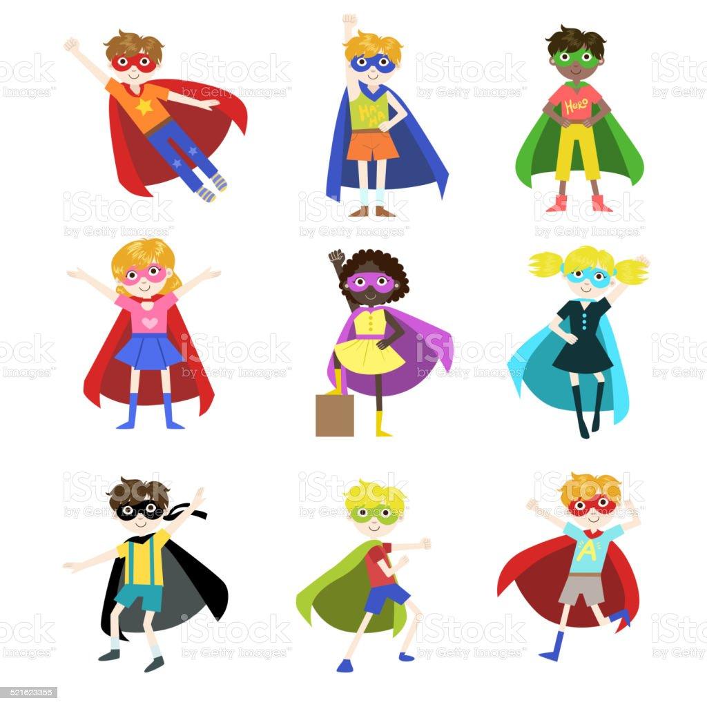 Kids Dressed as Superheroes Set vector art illustration