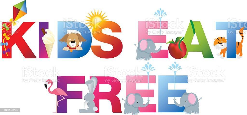 kids eat free word in childrens alphabet typeface vector art illustration