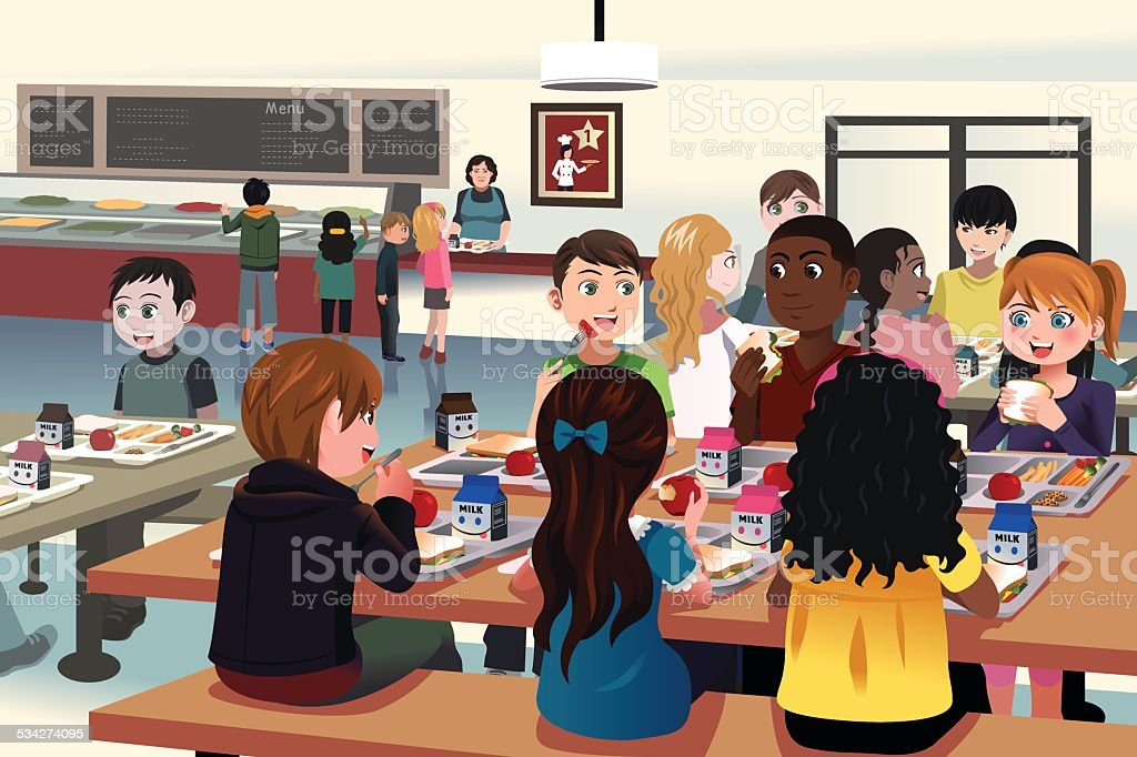 Kids eating at the school cafeteria vector art illustration