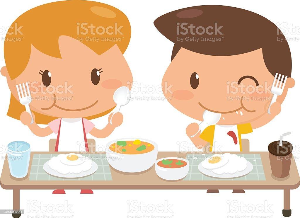 Kids eating vector art illustration