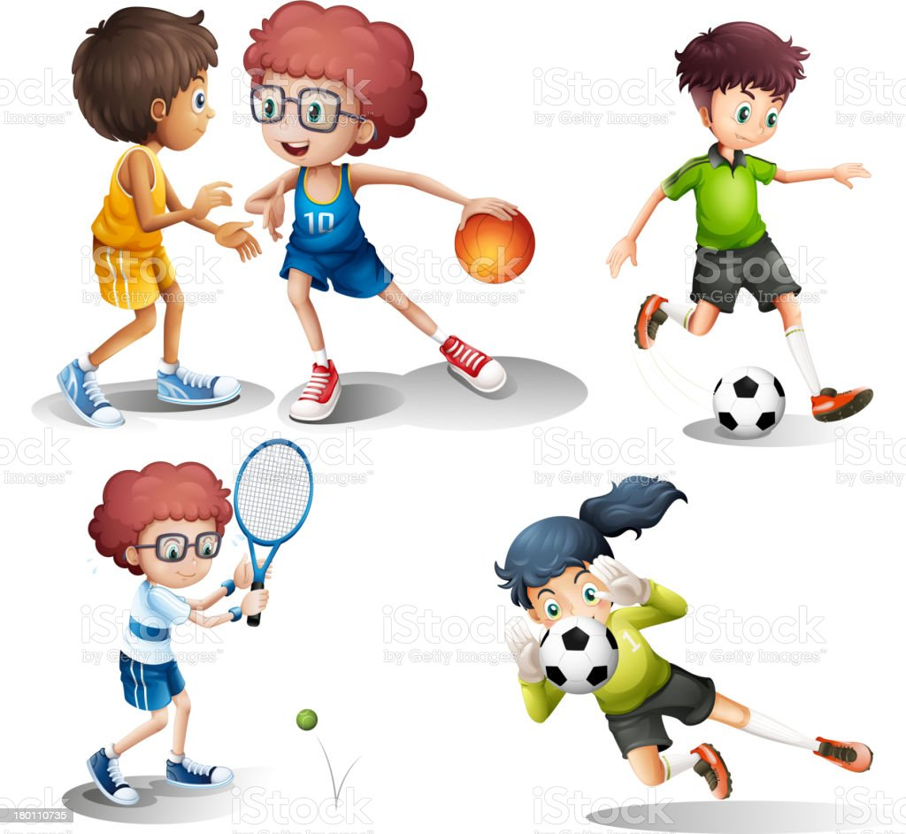 Kids engaging in different sports royalty-free stock vector art