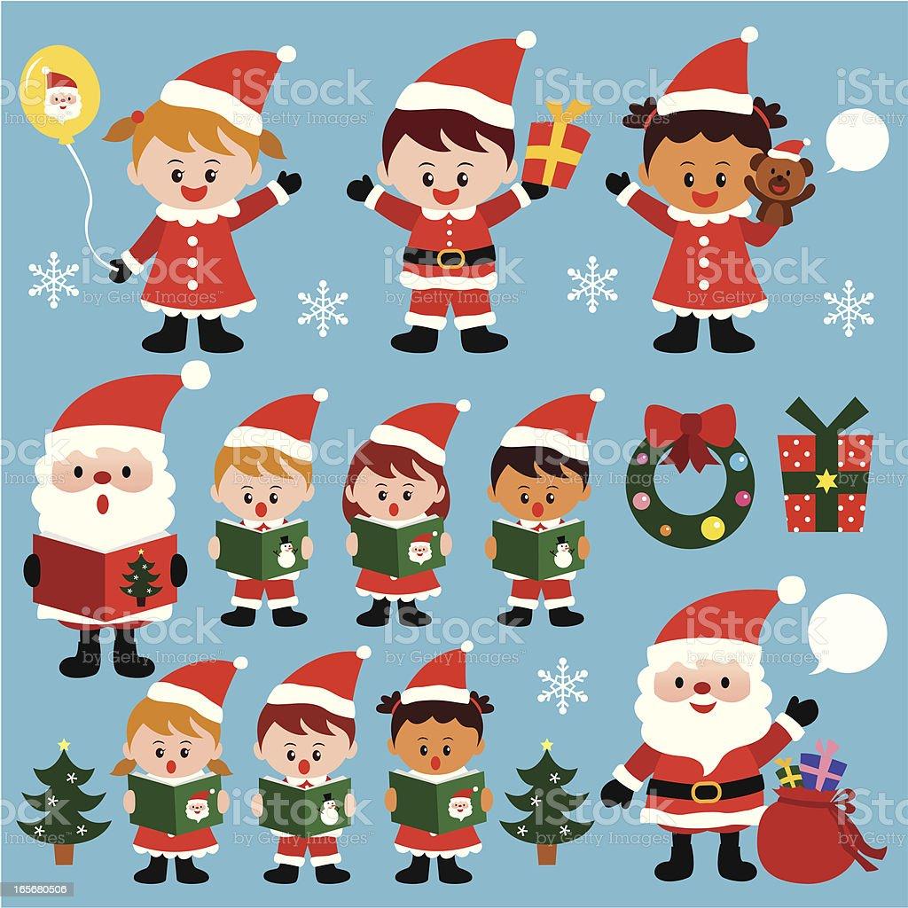 kids enjoying Christmas time royalty-free stock vector art
