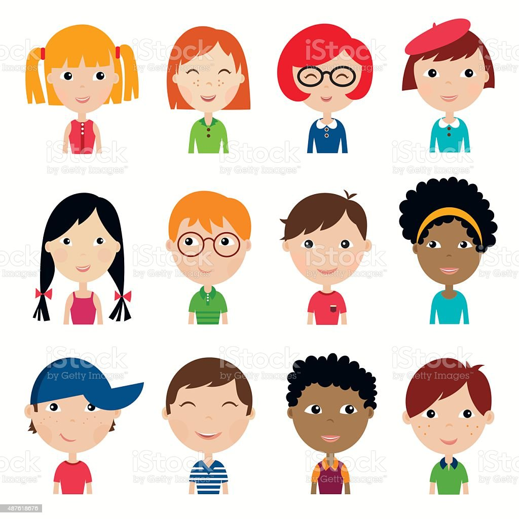 Kids faces collection (vector design) vector art illustration