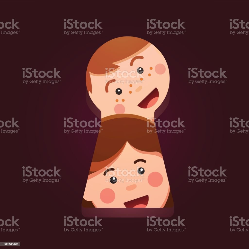 Kids faces looking peeping through big keyhole vector art illustration