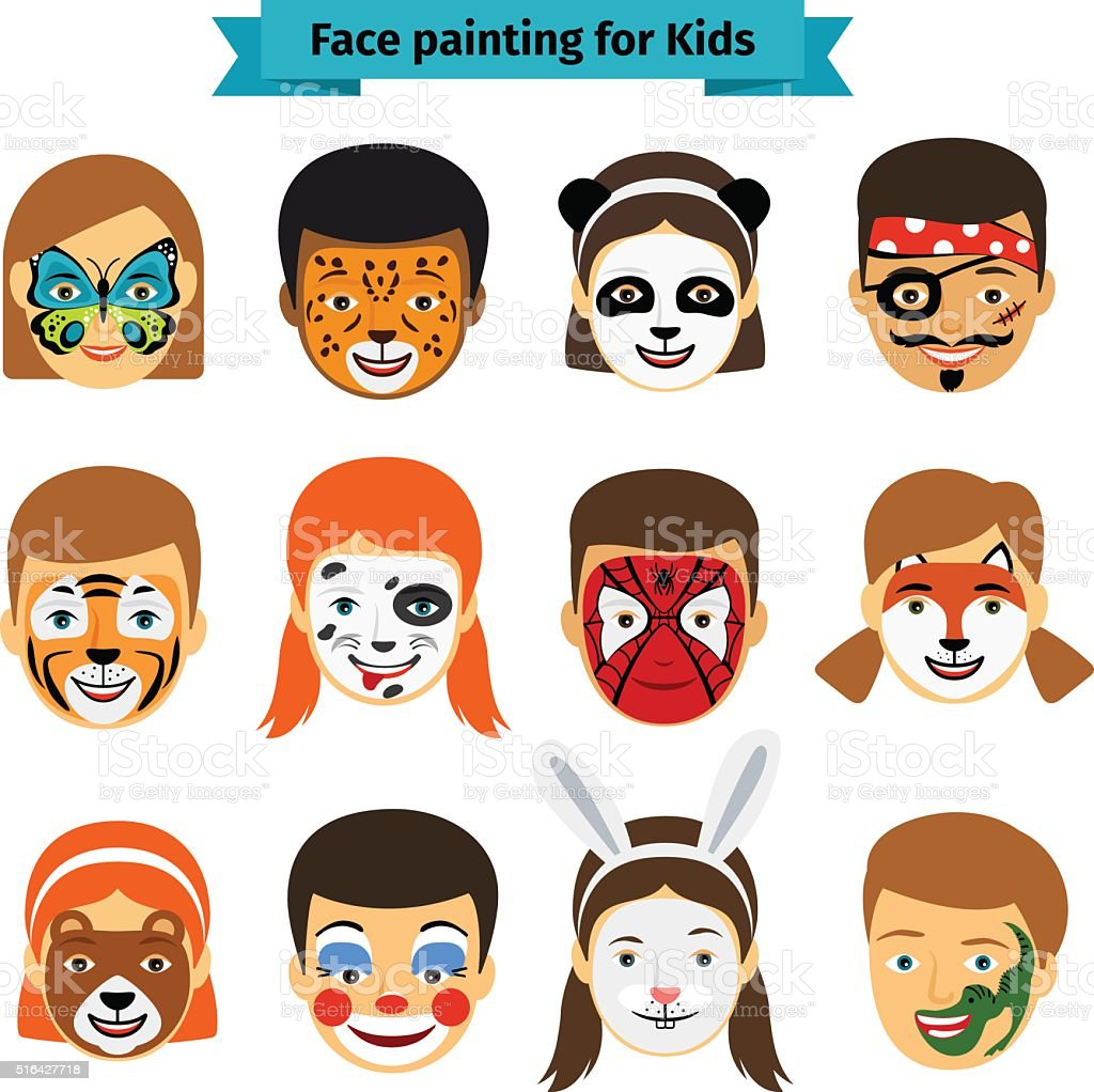 Kids faces with painting vector art illustration