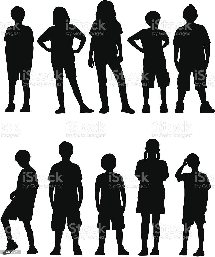 Kids Facing Front royalty-free stock vector art