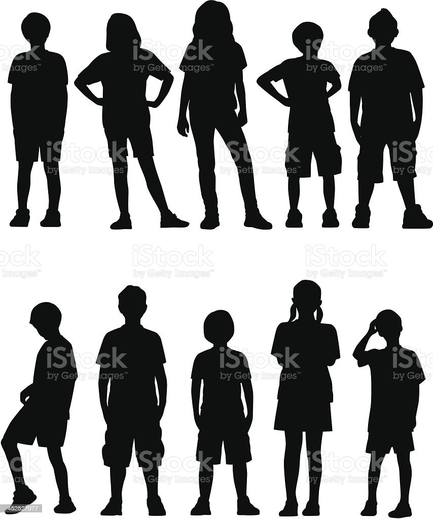 Kids Facing Front vector art illustration