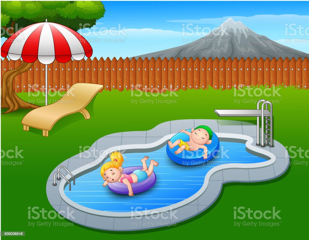 Kids floating on inflatable ring in the pool vector art illustration