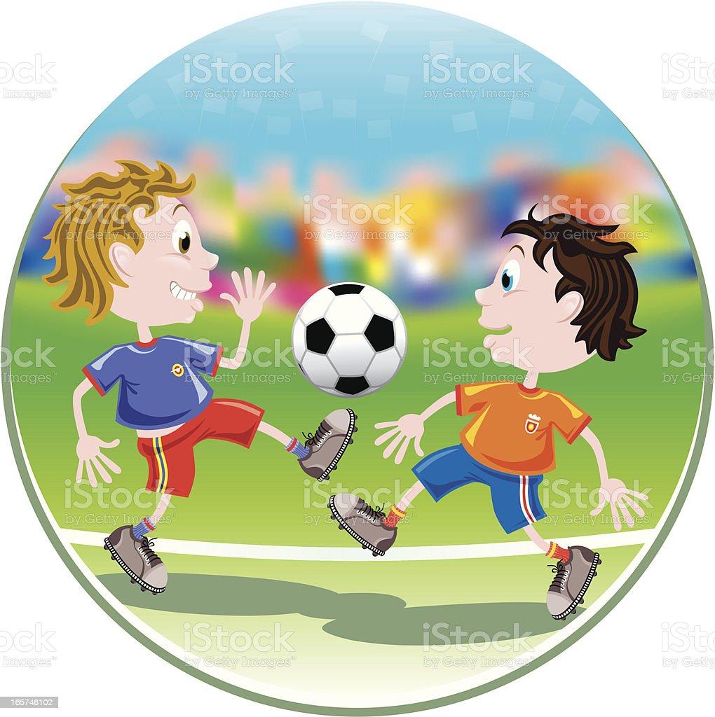 Kids' Football Tackling Action vector art illustration