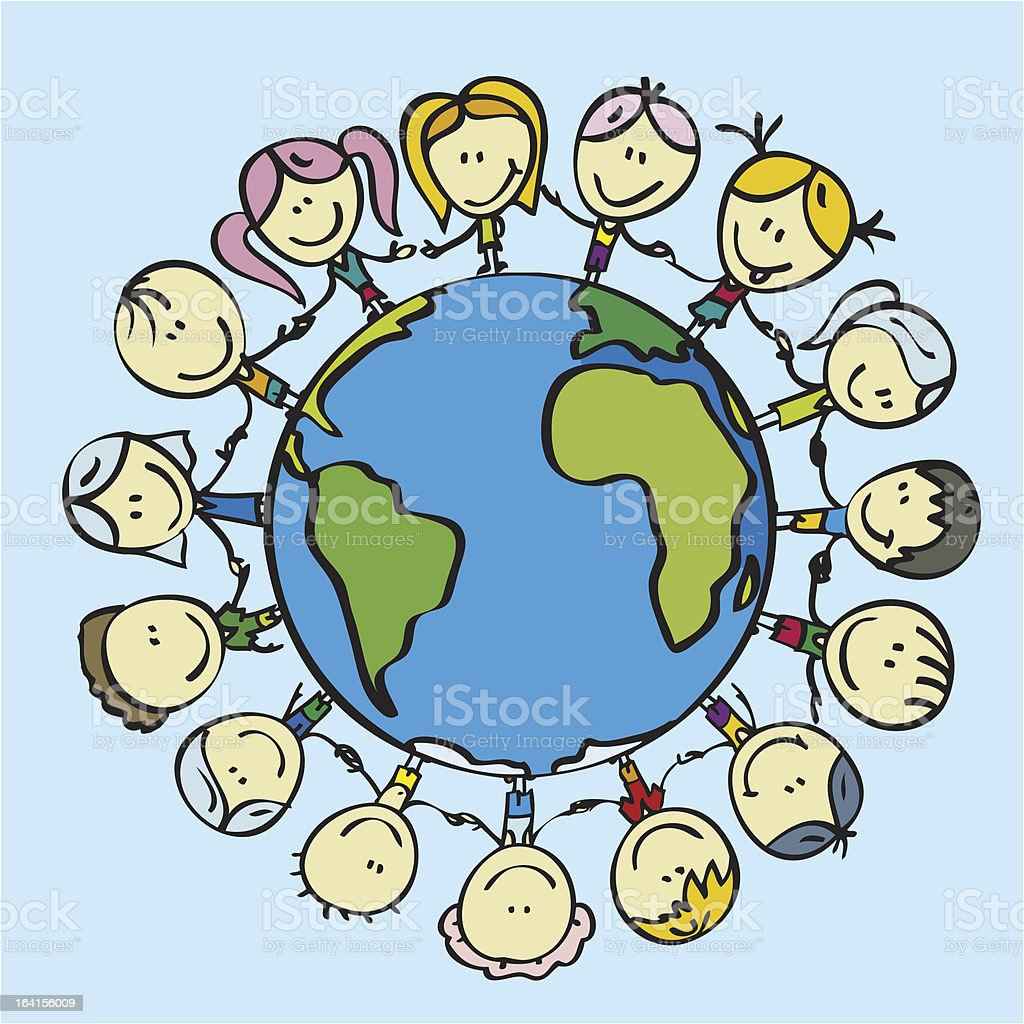 KIds for peace and life royalty-free stock vector art