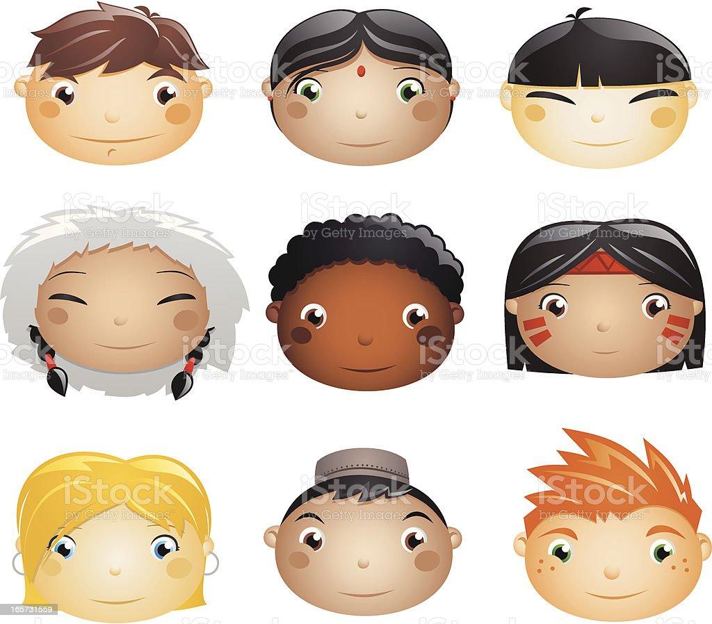 Kids from around the world vector art illustration