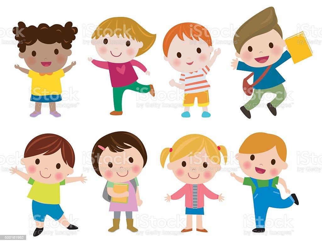 Kids go to school, back to school, Cute cartoon children, happy children vector art illustration