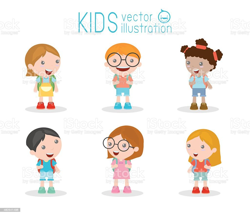 Kids go to school, back to school, Cute cartoon children vector art illustration