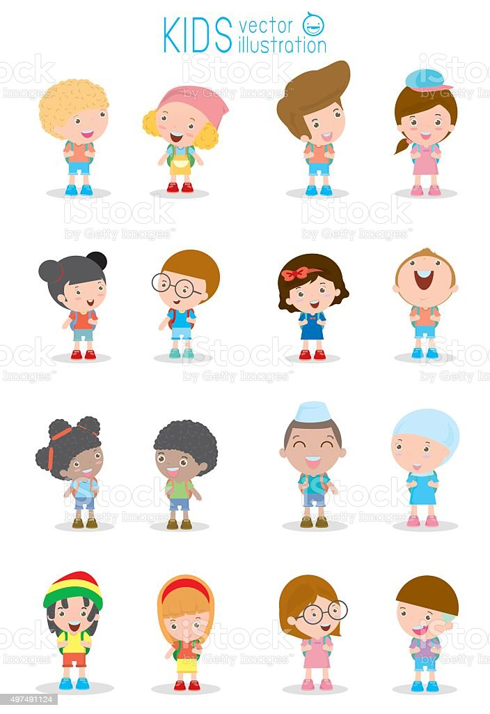 Kids go to school, back to school, Cute cartoon children. vector art illustration