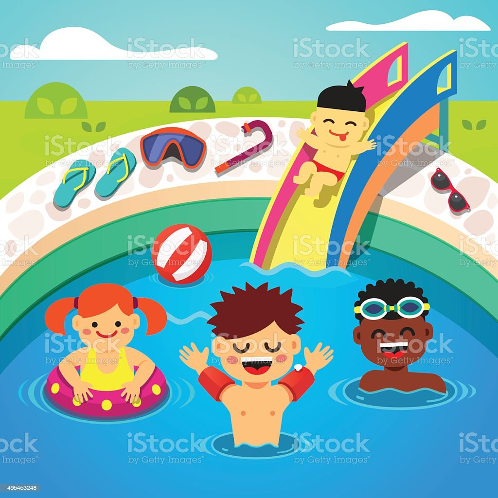 Kids having a pool party. Happy swimming vector art illustration