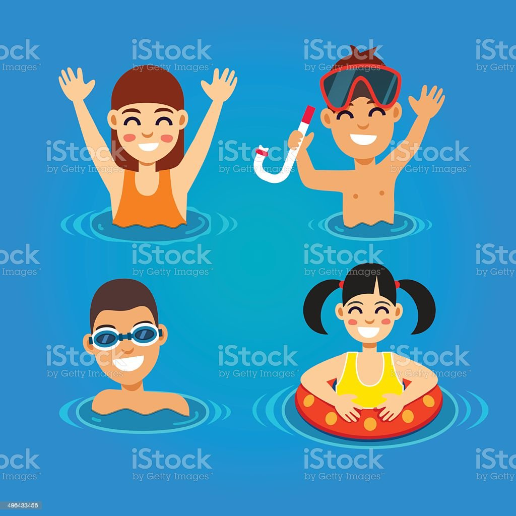 Kids having fun and swimming in the sea vector art illustration