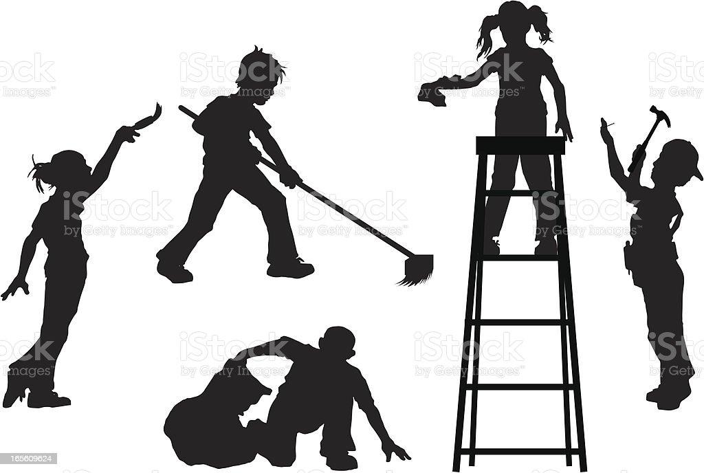 Kids Helping vector art illustration