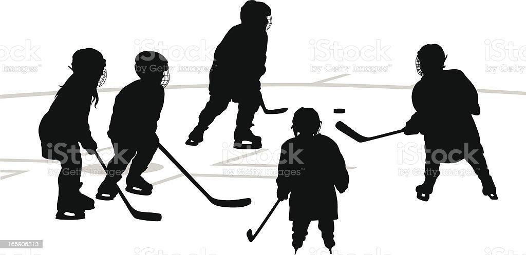 Kids Hockey Vector Silhouette royalty-free stock vector art