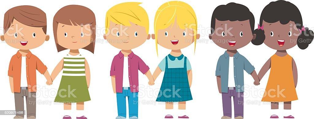 kids holding hand vector art illustration