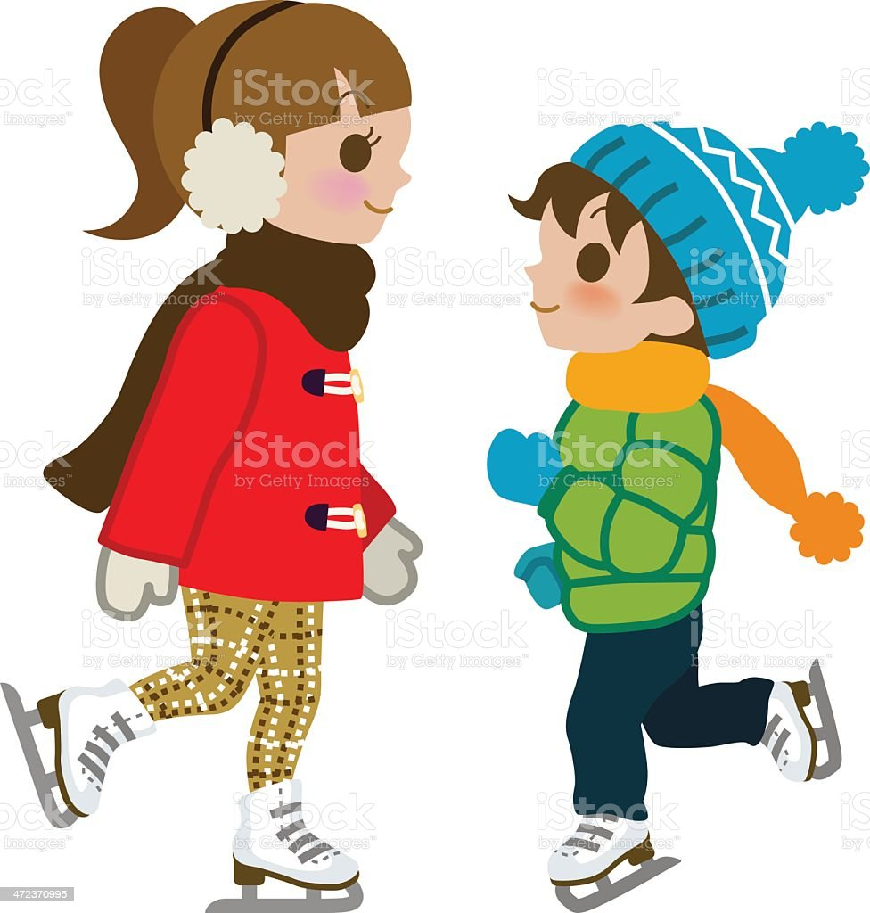 Kids Ice skating, isolated royalty-free stock vector art