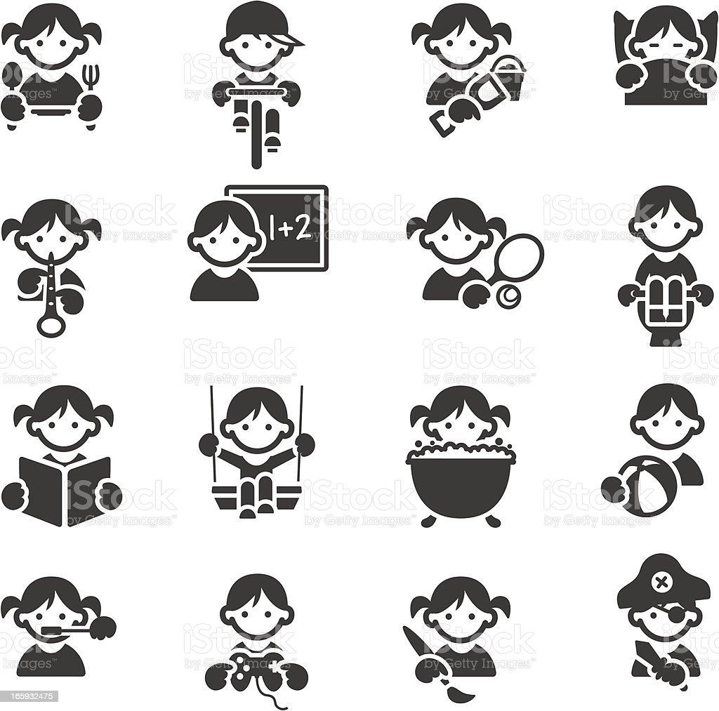 Kids icons vector art illustration