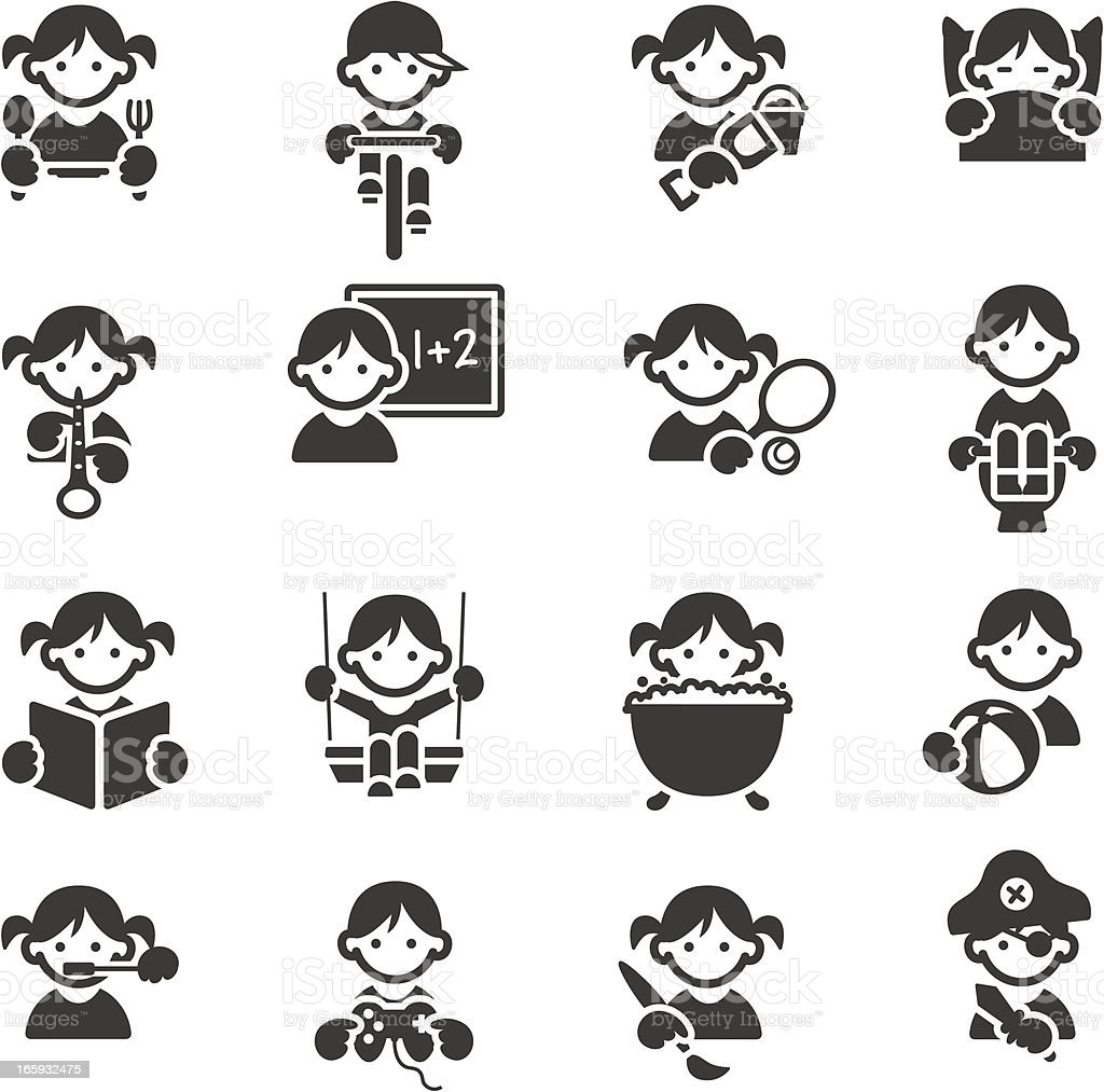 Kids icons vector art illustration