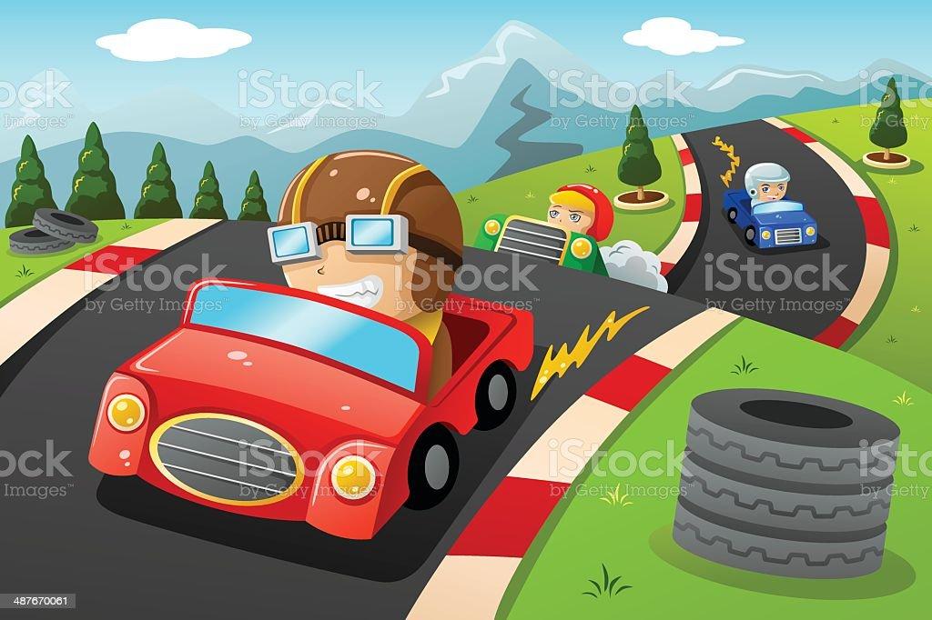Kids in a car racing vector art illustration
