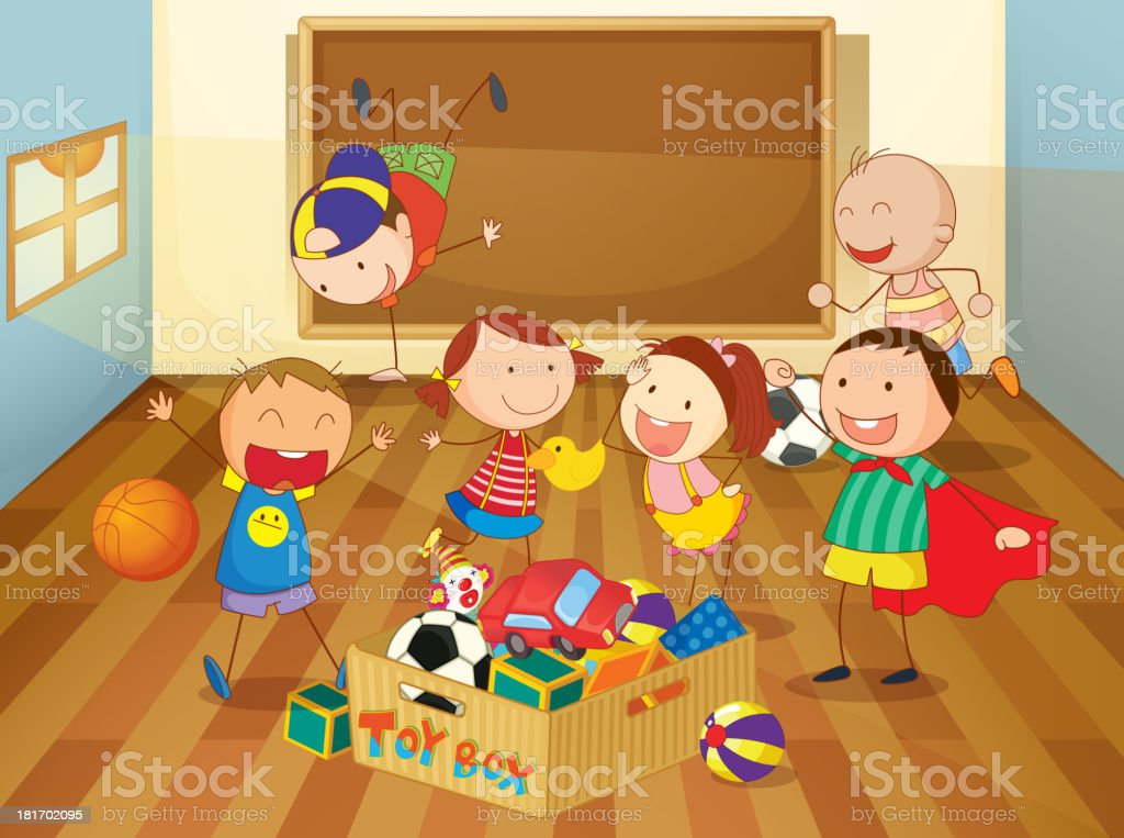 Kids in a classroom royalty-free stock vector art