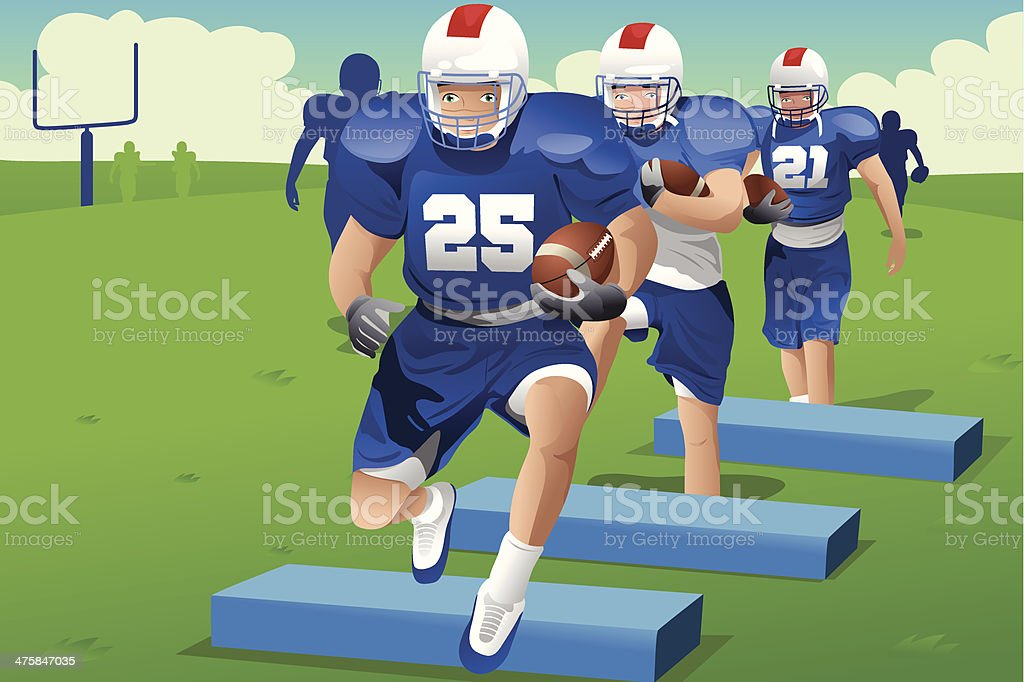 Kids in American football practice royalty-free stock vector art