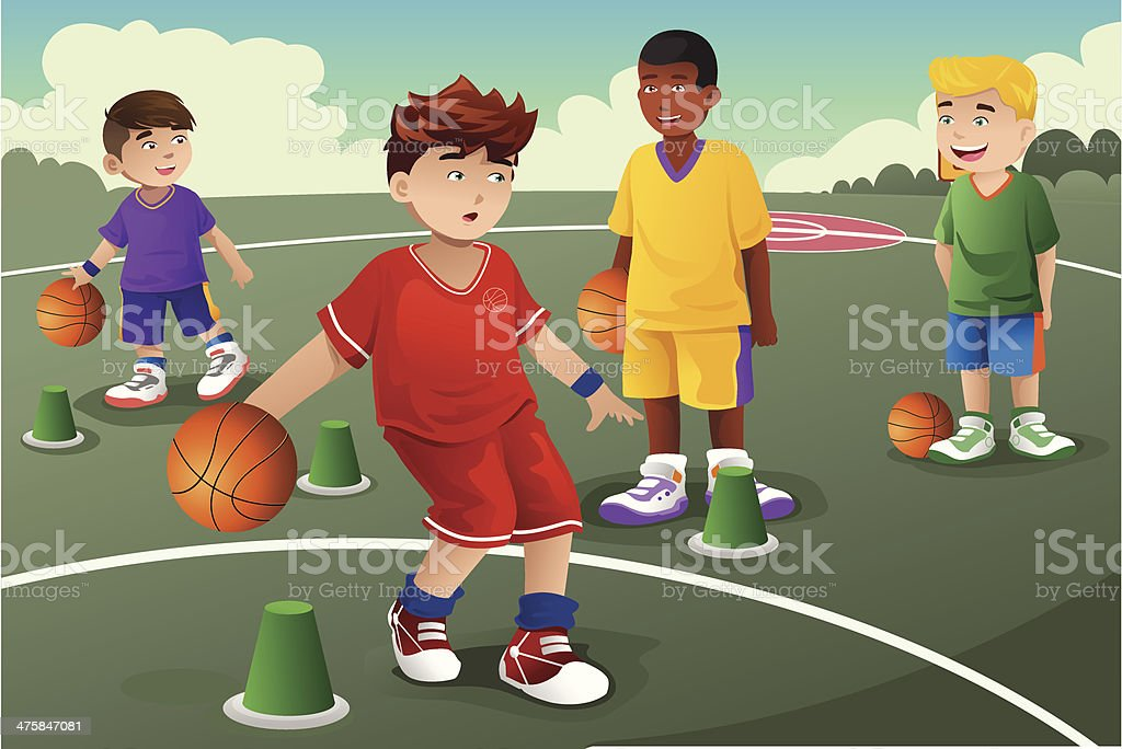 Kids in basketball practice royalty-free stock vector art
