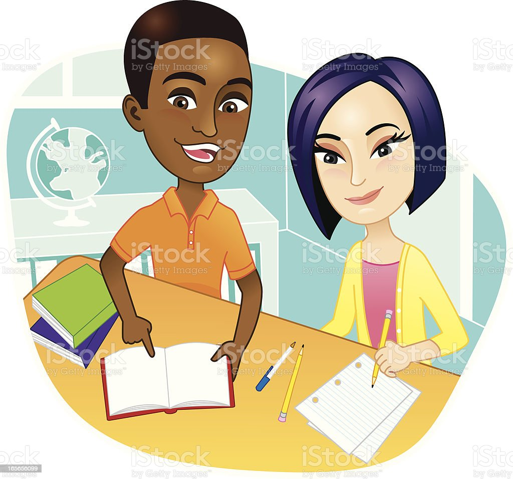 Kids in class at desk doing school work royalty-free stock vector art