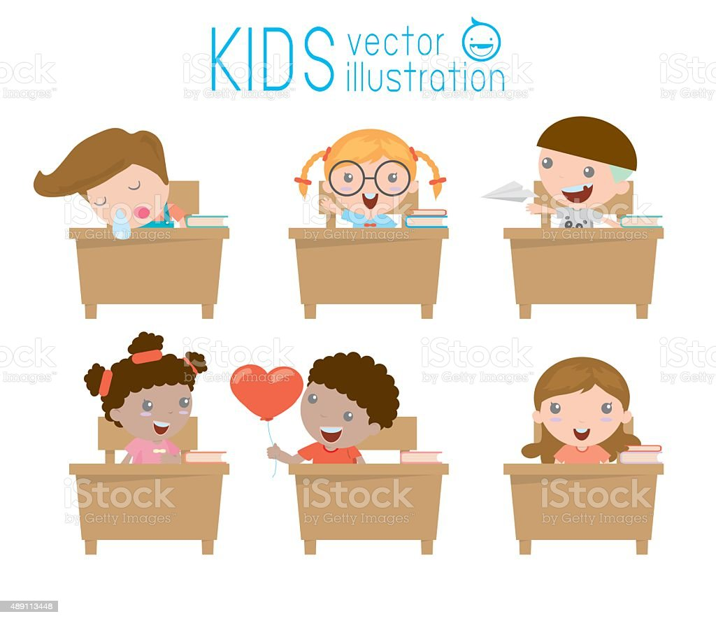 kids in classroom, child in classroom, kids studying in classroom vector art illustration
