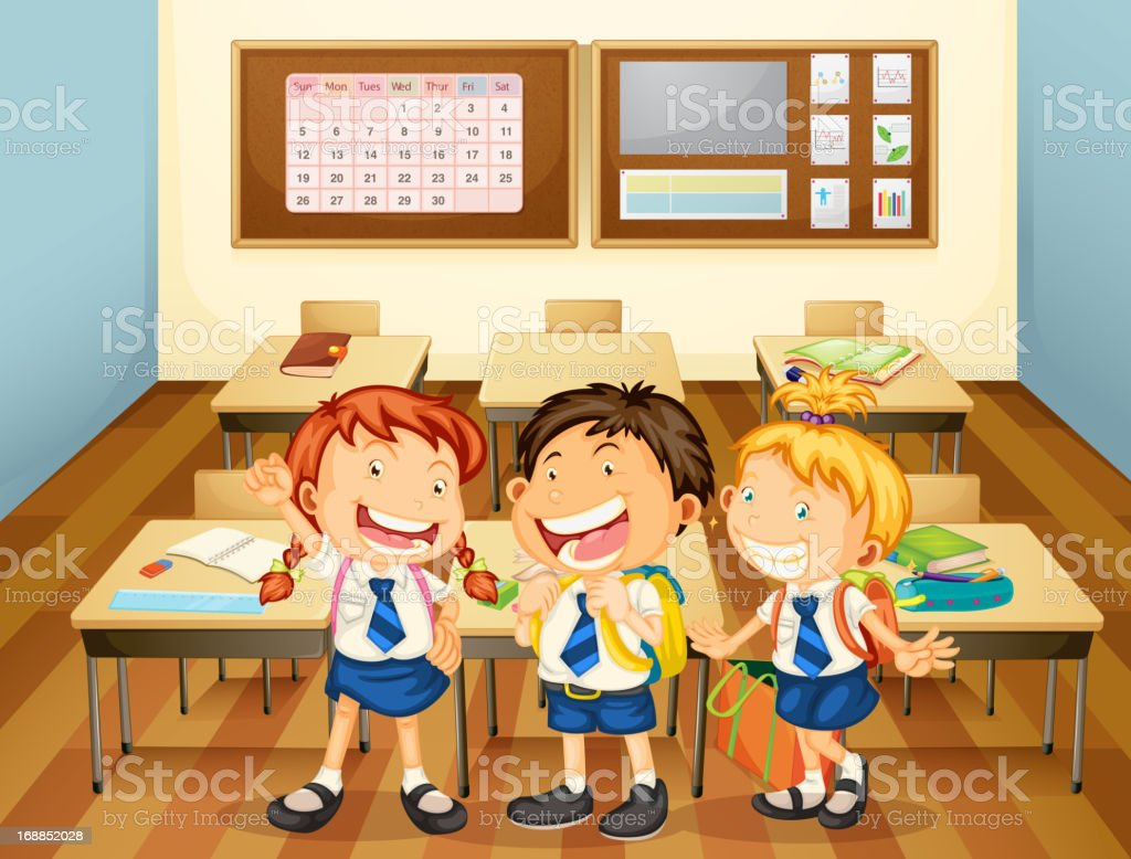 Kids in classroom royalty-free stock vector art