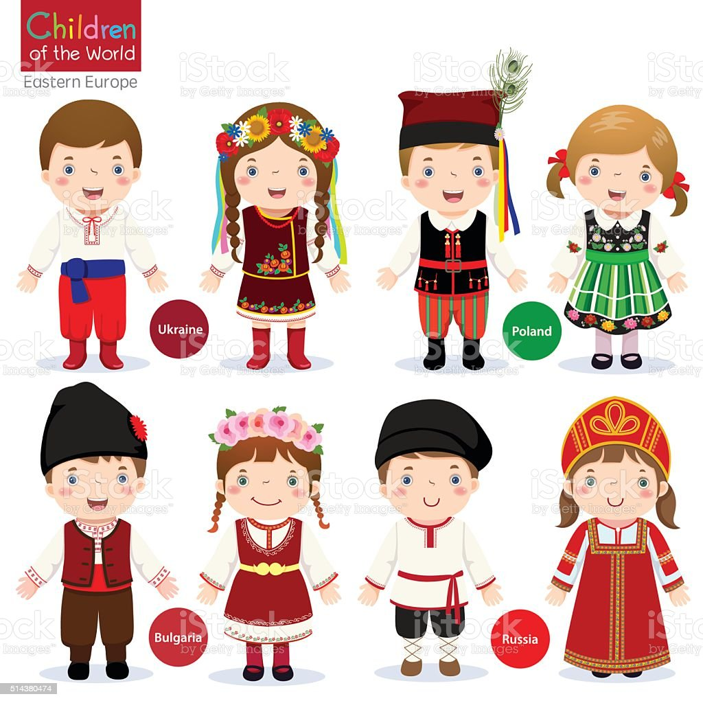 Kids in different traditional costumes (Ukraine, Poland, Bulgaria, Russia) vector art illustration