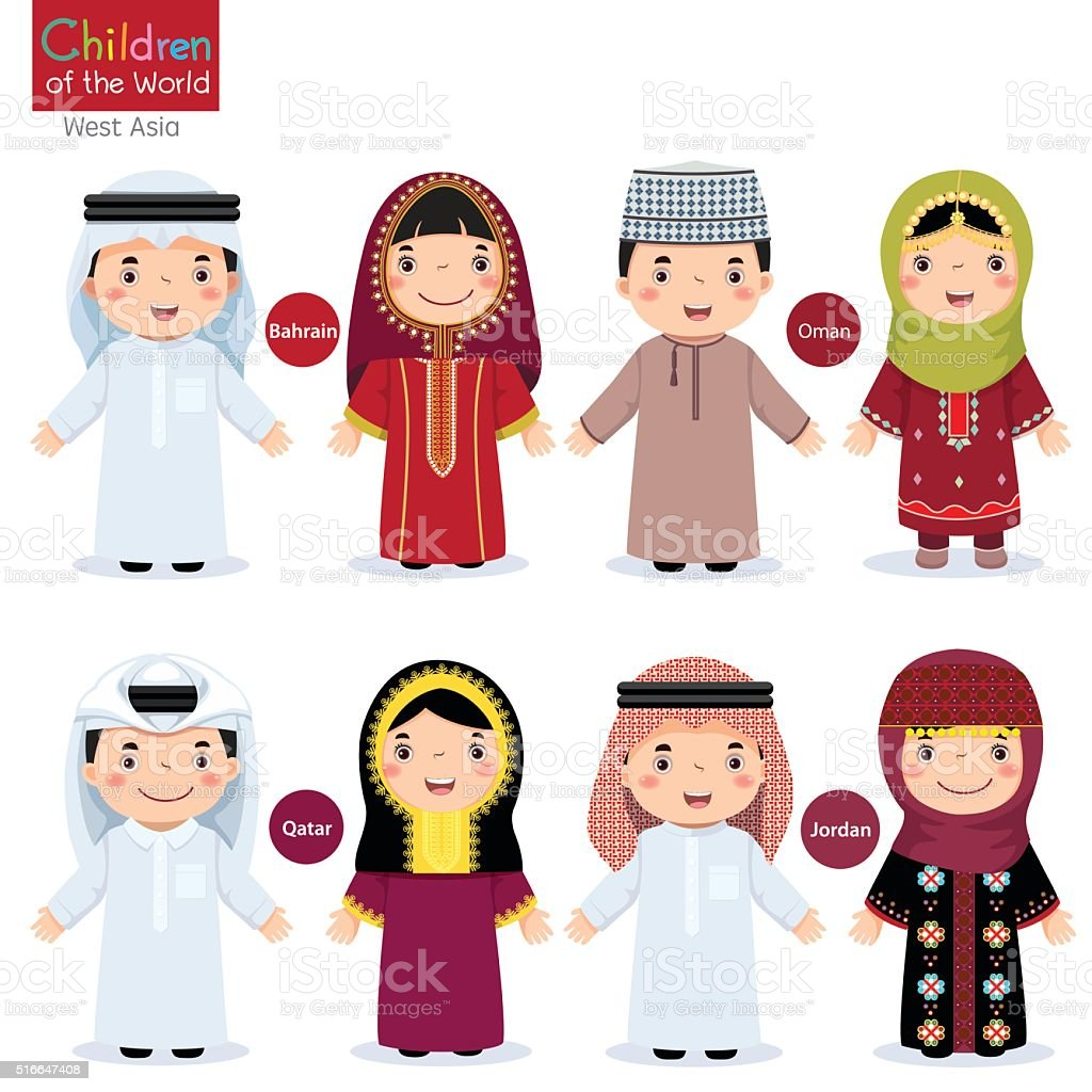 Kids in different traditional costumes (Bahrain, Oman, Qatar, Jordan) vector art illustration