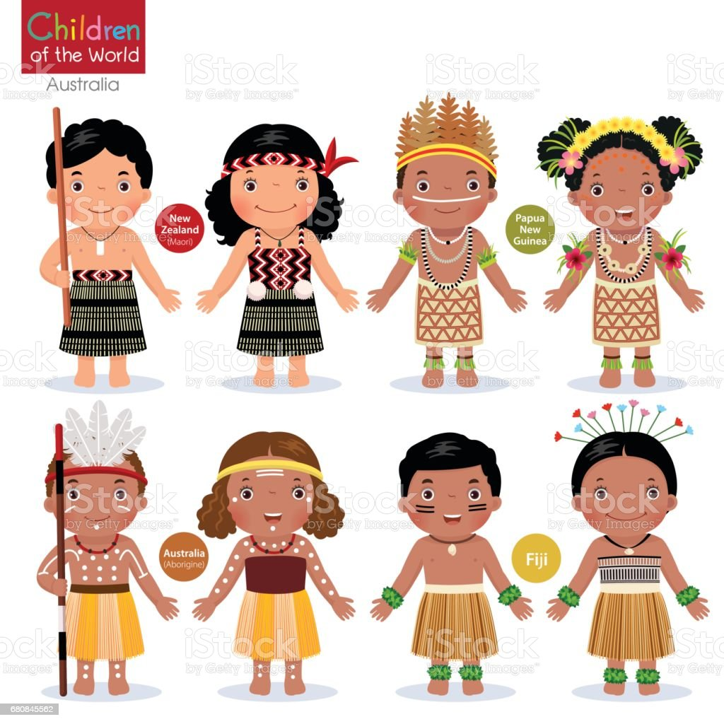 Kids in different traditional costumes. vector art illustration