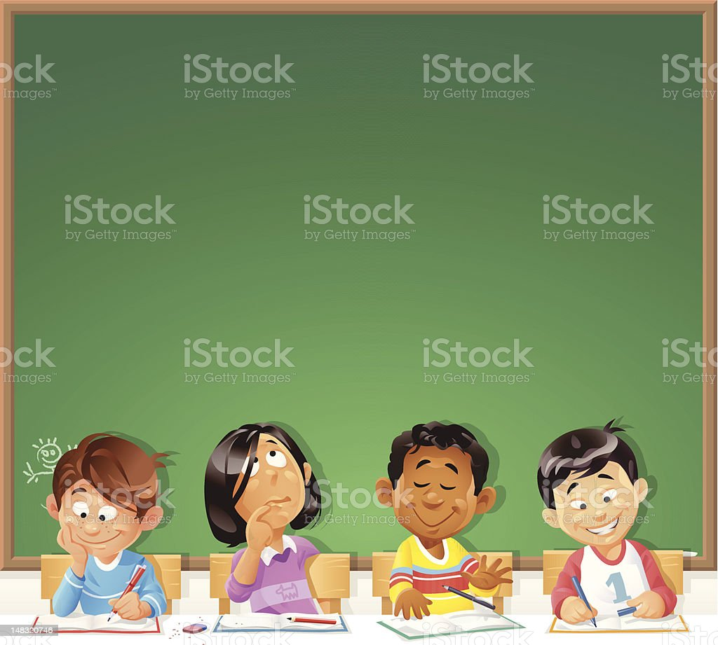 Kids in Front of Blackboard vector art illustration