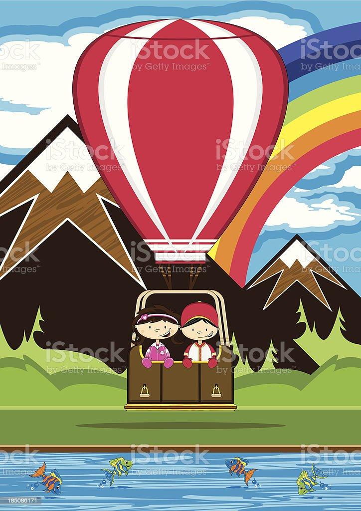 Kids in Hot Air Balloon Scene royalty-free stock vector art