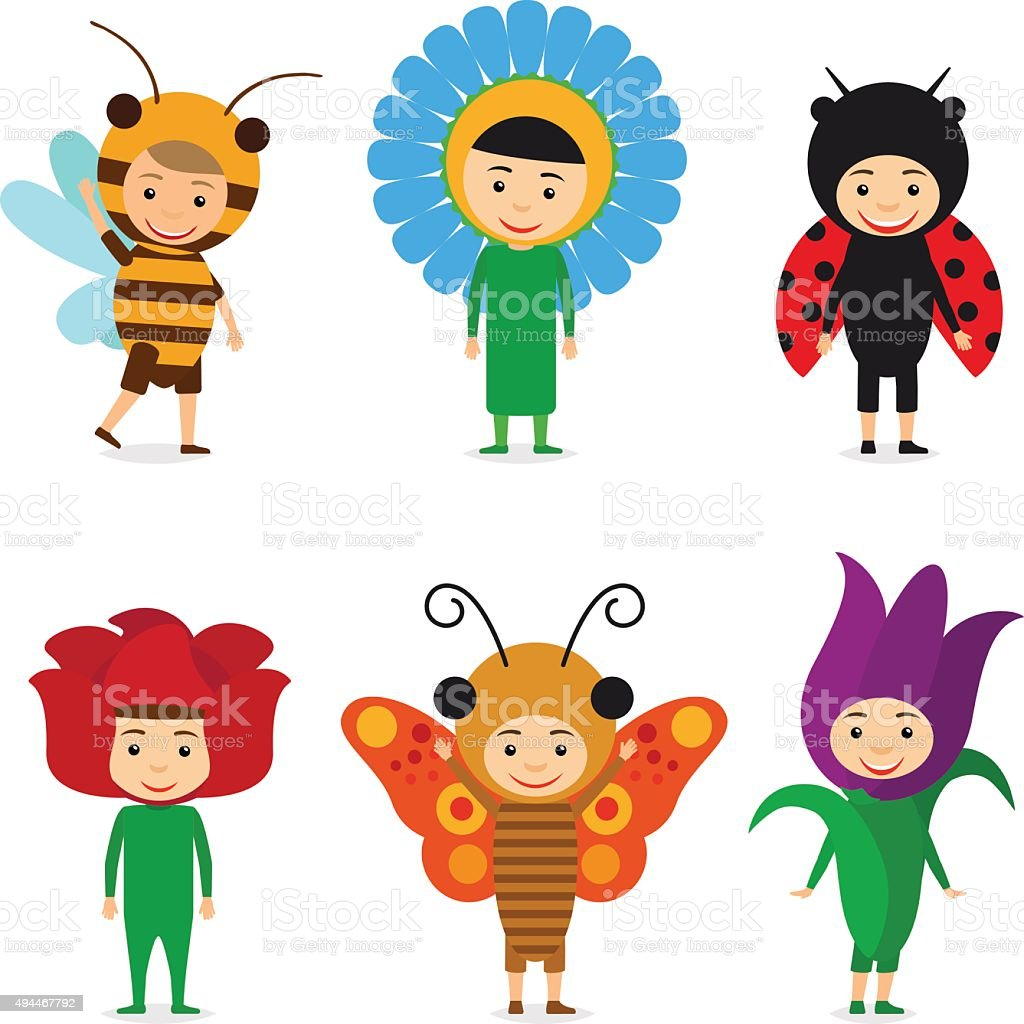 Kids in insect and flower dresses vector art illustration
