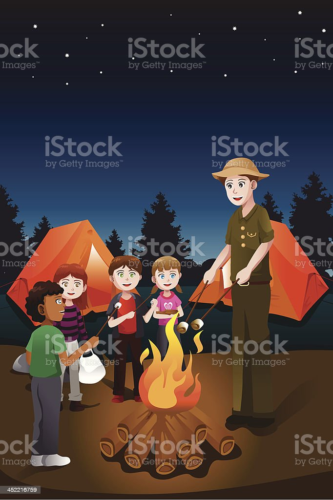 Kids in summer camp royalty-free stock vector art