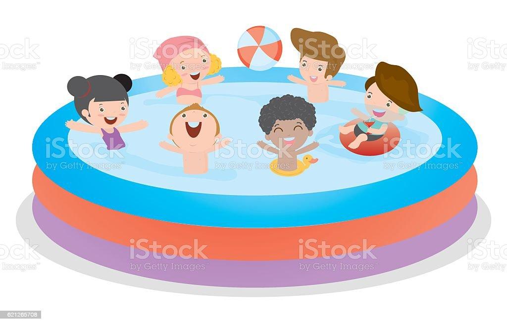Kids in Swimming Pool, children for summer season. Kid inflatable pool vector art illustration